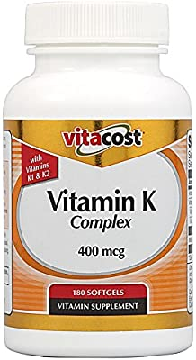 Vitacost Vitamin K Complex with K1 & K2 -- 400 mcg - 180 Softgels