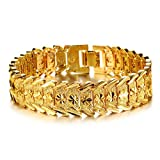 Tips4Wise Wrist Chain 24k Gold Plated Noble Men's Women's Bracelets New Design Bangle