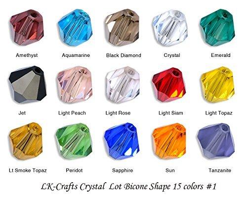 LK-CRAFTS Wholesale Lot 1500pcs Bicone (similar cut #5328/ 5301) 4mm Crystal Beads 15 colors with storage box. #1 (Aquamarine Genuine Box Gift)