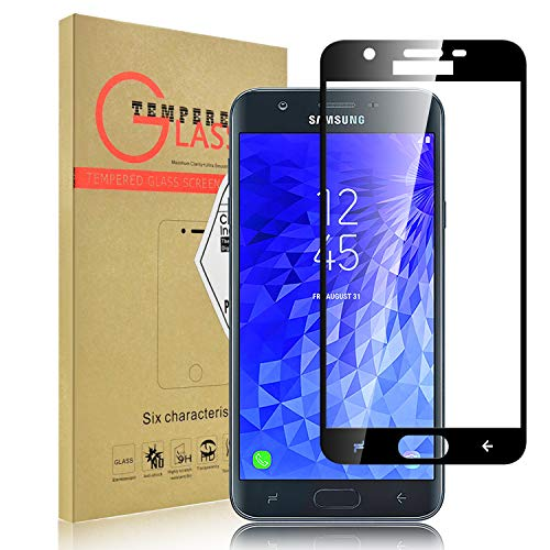 [1 Pack] Galaxy J7 2018 Screen Protector, LEAPTECH [Full Cover] [9H Hardness] Bubble Free Tempered Glass Screen Protector for Samsung Galaxy J7 Refine/Galaxy J7 Aero/Galaxy J7 Star (Black) -