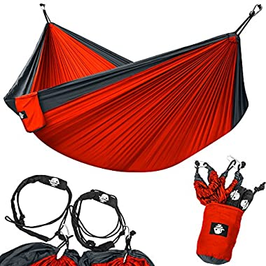 Legit Camping - Double Hammock - Lightweight Parachute Portable Hammocks for Hiking , Travel , Backpacking , Beach , Yard . Gear Includes Nylon Straps & Steel Carabiners (Charcoal/Red)
