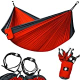 Legit Camping Double Hammock - Lightweight Parachute Portable Hammocks for Hiking, Travel, Backpacking, Beach, Yard Gear Includes Nylon Straps & Steel Carabiners (Charcoal/Ruby)