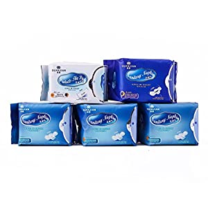 FDA APPROVED QUANJIAN Ladies 5 Packs Natural Sanitary Napkins Pads Set for Women Including 3 Packs Normal Daily Use and 1 Pack Night Use and 1 Pack Protective Pads
