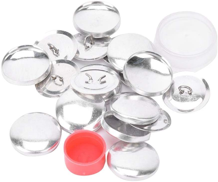 HEEPDD Cover Buttons Kit, Covered Button Kits DIY Button Craft Kits Solid Fabric Cloth Covered Flat Back Buttons 1 Set Buckle Tools 10 Sets of Buckle Base(25mm)