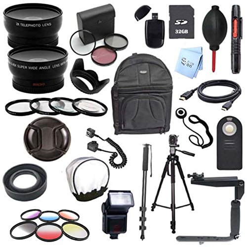 Canon EOS Rebel T5i / 700D Digital SLR Camera Deluxe Camera Accessory Bundle (Fits: EF50MM F/1.4, EF85MM F/1.8, EF75-300MM F/4-5.6, EF-S 55-250MM F/4-5.6 IS STM)