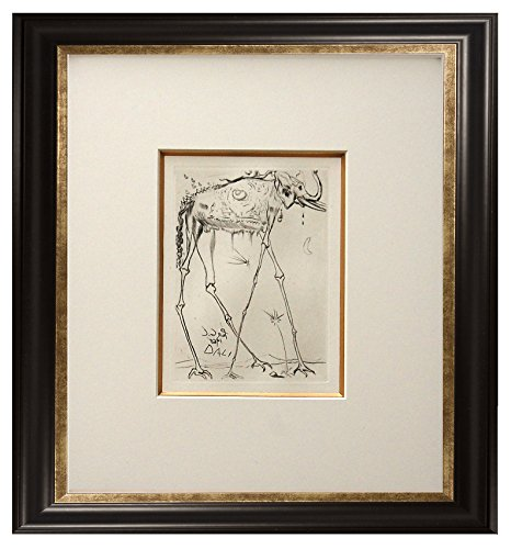 (Salvador Dalí 'Elephant'. Etching on archival fine art cotton-rag paper, from the original signed plate. Limited Edition. Framed size: 16.5