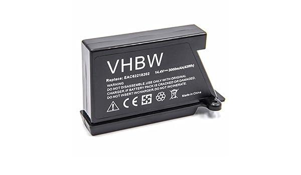 vhbw Li-Ion batería 3000mAh para Robot limpiasuelos Robot autónomo de Limpieza LG Hom-Bot VR1228DS, VR1228R, VR1229B, VR1320B, VR34406LV, ...