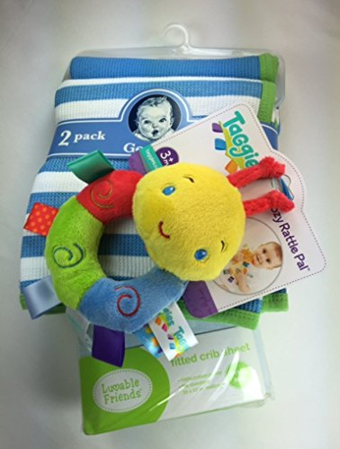 Baby Gift Bundle - 3 Items: Gerber 2-pack Thermal Receiving Blankets, Lovable Friends' Blue Fitted Crib Sheet, and Taggies Cozy Rattle Pal 2 Pack Thermal Blanket