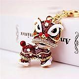 Wanrane Women's Supplies Modern Stylish Pendant Chinese Style Kirin Pendant Metal Keyring Purse Hand Bag Keychain Gift (Red)