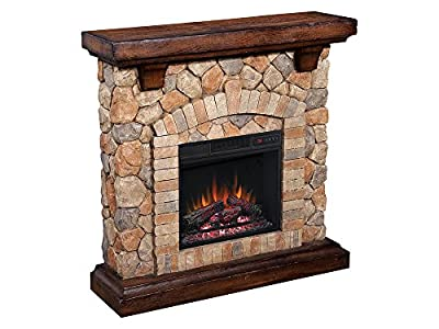 ClassicFlame Tequesta Stone Electric Fireplace Mantel Package in Old World Brown - 18WM40070-C296