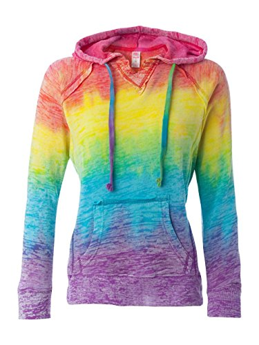 MV Sport Women's Courtney Burnout Hooded Pullover Blend Fleece (Rainbow Swirl) (X-Large)