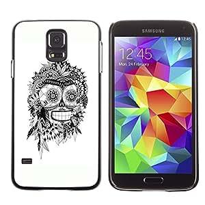 Eason Shop / Hard Slim Snap-On Case Cover Shell - Bender White Black Indian Skull Robot - For Samsung Galaxy S5 SM-G900