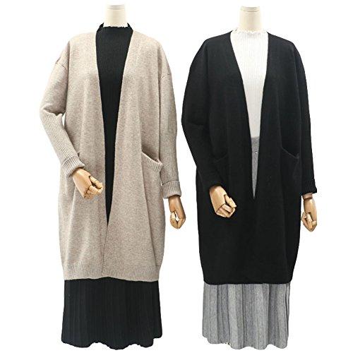 Beige Cardigan Donne Knit Maglione Ladies Zerlar Aperta per Maglia Anteriore Manica Lunga qBPERU
