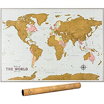 Amazon scratch off map personalized scratch map of the world scratch off map of the world travel map with outlined canadian and us states scratchable world map with detailed cartography xl large size 33 x 24 gumiabroncs Images