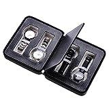 Yeshom Portable 4 Slot PU Leather Watch Zippered Travel Box Montre Belt Wristwatch Storage Organizer Padded Display Case