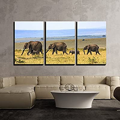 Elephant Family on The Vast Grassland x3 Panels...