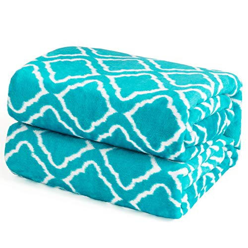 (Bedsure Flannel Fleece Blanket Printed - Lattice Scroll - Blanket for Bed, Couch, Car, Office, Camping Travel and Gifts Twin Size, 60 x 80 inches, Printed Teal)