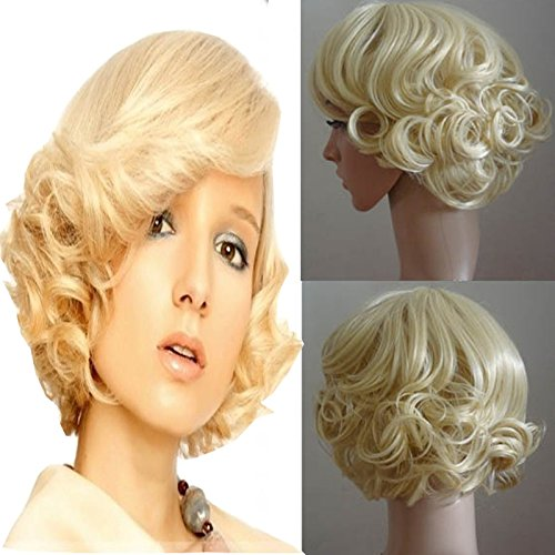 Blonde Marilyn Monroe Wig (LightInTheBox Marilyn Monroe Curly Hair Wigs for Black Women Fluffy Wavy Blonde Synthetic Wig Natural Looking Heat Resistant Wigs)