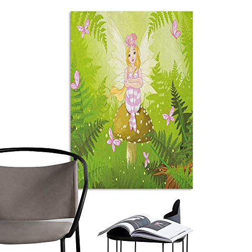 Canvas Print Wall Art Nursery Magic Fairy Girl with Floral Hairstyle in Green Forest Pink Butterflies Green Pale Pink Brown Stair Elevator Side W16 x -