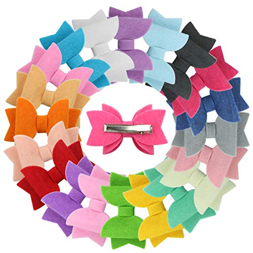 XIMA 20pcs Solid Hairbow Non Woven Warm Bows Hair Clips Hairpins for Children Party Gift Hair Accessories (20pcs-Non-woven fabrics Bow -