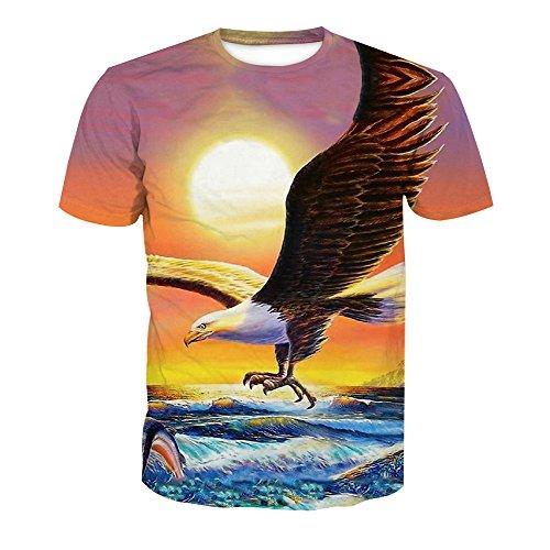 Courtes Rond Col Animal 3 Style Shirt Manches Imprimé Homme Acvip xqfC6C