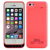 Toughsty™ 2200mAh External Battery Backup Charger Case Pack with Power Bank for iPhone 5C, 5G, 5S (Red)