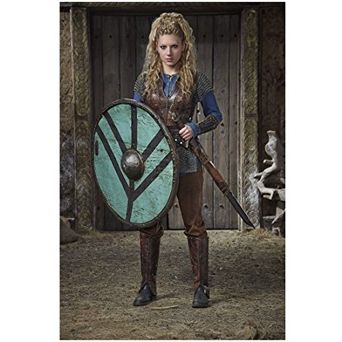 Vikings 8 x 10 Photo Katheryn Winnick/Lagertha Wearing Blue and Brown Serious & Sexy w/Shield & Sword - Sexy Shield