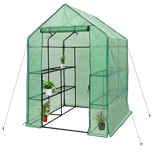 Deluxe Green House 56″ W x 56″ D x 77″ H,Walk In Outdoor Plant Gardening Greenhouse,3 Tiers 6 Shelves (56″ W x 56″ D x 77″ H)
