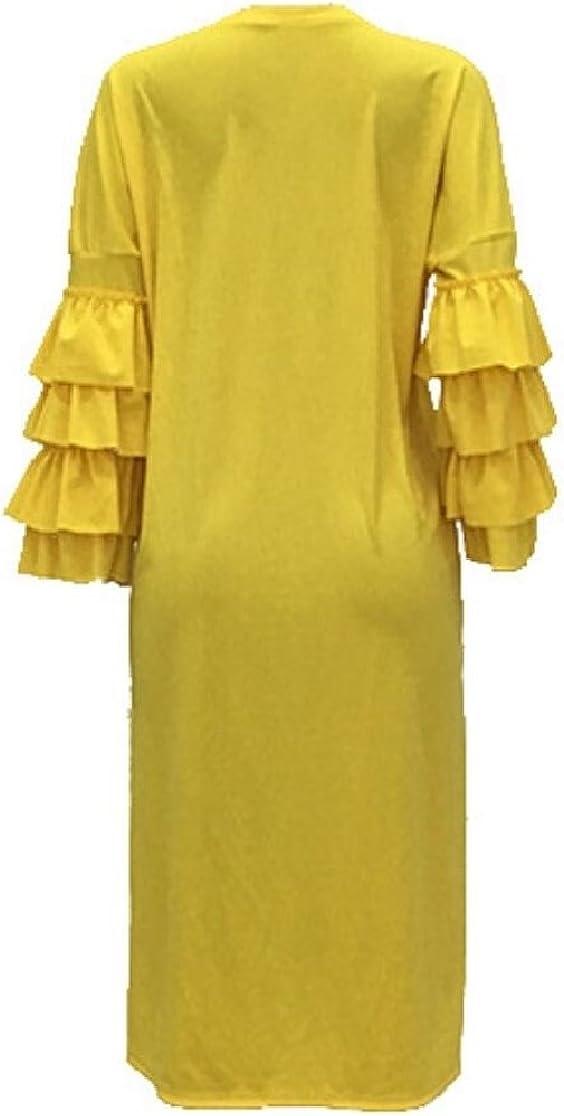 Gocgt Womens Solid Flounce Sleeve Mini Dress Loose Culb Dress