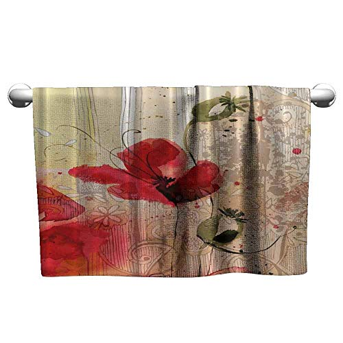 (Mannwarehouse Blooming Poppy Water-Absorbing Bath Towel Blossoms Baroque Retro Court Lace Home Art Floral Creativity Style Exceptional Design Charming Chic W19 x L39 Red Green Ivory Beige)
