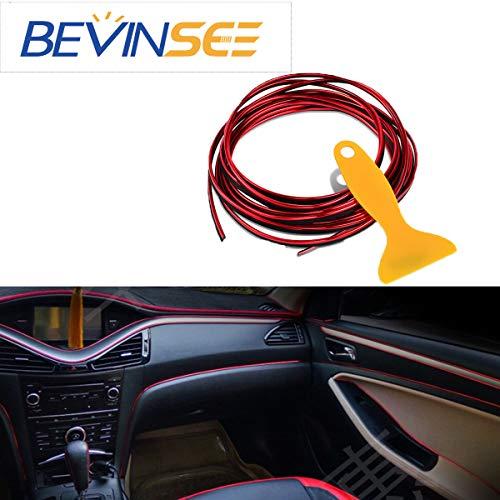 - Bevinsee Car Interior Decor Red Point Edge Gap Door Panel Accessories Molding Line(5M),2PCS