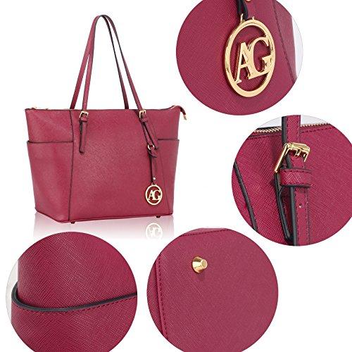 Faux Bag Shoulder Handbag Ladies Burgundy New Leather Womens Tote qfxwYATZI