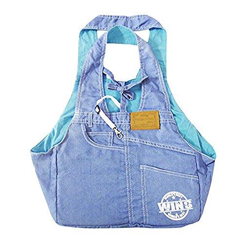 Eizur Denim Single-Schulter Sling Bag Haustier Hund Hundetasche Carrier Tragbar Draussen Reise Tragetasche Umhängetasche Handtasche für Hunde Katzen Hündchen Kleintiere Größe 33*17*53cm--Hellblau