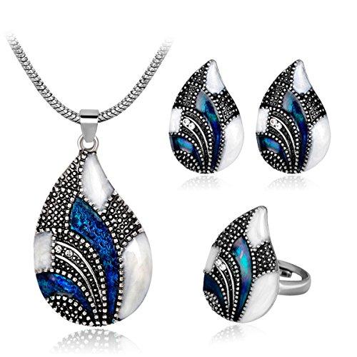 Jewelry Enamel Blue (Joya Gift Vintage Enamel Crystal Blue Jewelry Set Silver Necklace Ring Teardrop Earrings Set for Women Mom)