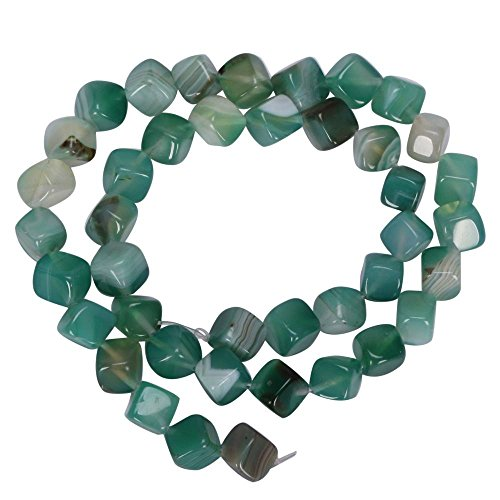- AAA Natural Green Stripe Agate Gemstone 8mm Cube Loose Beads 15.5