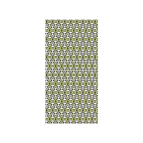 3D Decorative Film Privacy Window Film No Glue,Kids,Geometrical Up and Down Panda Pattern Daisy Flowers Cute Funny Bears,Pistachio Green Black White,for Home&Office