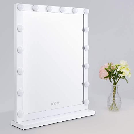 Top4ever Makeup Mirror With Led Lights Makeup Vanity Mirror Led Lighted With 16 Led Bulbs Three Color Lights Dimmable One Touch Control Hollywood