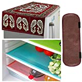 Kuber Industries Cloth 3 Pieces Fridge Mat, 1 Piece Handle Cover and 1 Pieces Fridge Top Cover (Multi)-CTKTC2761