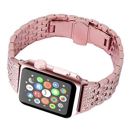 Juzzhou Band For Apple Watch iWatch Series 1/2/3 Sport Edition Replacement Stainless Steel Faux Jewelry Wriststrap Bracelet Wrist Strap with Metal Adapter Buckle For Woman Lady Girl Rose Gold 38mm by Juzzhou (Image #2)