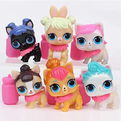 (6pcs/Set Cartoon Pet Dog PVC Action Figure Toy LOL Doll Toys Kids Educational )