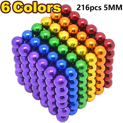 Sea Plan 216 Pcs 5MM Magnetic Balls Set for Office Stress Relief,Desk Sculpture Toy Perfect for Crafts,Colorful DIY Buildable Magnets Toy for Fun