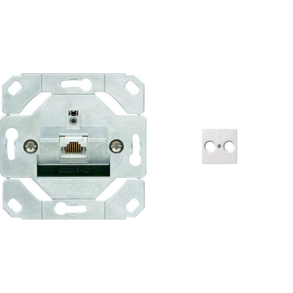 Gira 245100 Netzwerkdose 1-fach Cat.6A IEEE 802.3an Einsatz /& 27003 Zentralplatte 50 x 50 mm f/ür UAE//IAEST55 reinwei/ß-gl/änzend Anschlu/ßdosen 027003