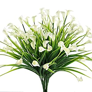 HOGADO Artificial Shrubs, 4pcs Fake Calla Lily Faux Plastic Greenery Plants Flower Arrangement for Home Kitchen Dining Room Hanging Planter Garden Cream 90