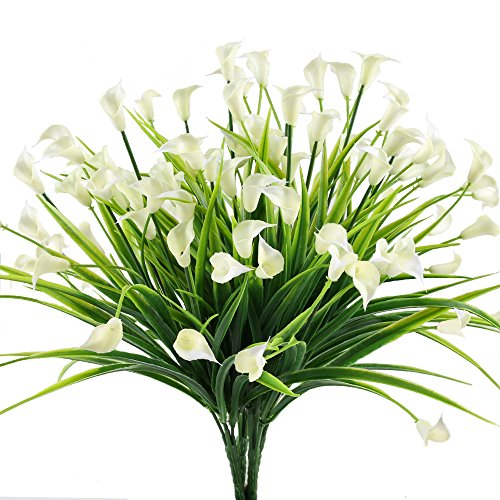 HOGADO Artificial Shrubs, 4pcs Fake Calla Lily Faux Plastic Greenery Plants Flower Arrangement for Home Kitchen Dining Room Hanging Planter Garden Cream