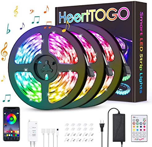 LED Strip Lights HEERTTOGO 39.37ft Bluetooth APP Control Music Sync Color Changing LED Lights with 23 Keys IR Remote,360 LEDs 5050 RGB 3 Ways Control LED Strip Lights for Bedroom Home DIY Decorations
