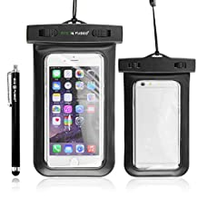 Waterproof Case Cover Pouch with IPX8 Certificate for Phone- One Black Stylus & ECO-FUSED® Microfiber Cleaning Cloth included (Black)