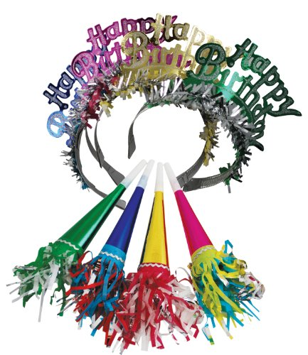 Foil Party Horns (Party Partners Design Party Favor Birthday Headbands and Tooters, Multicolored, 8 Count)