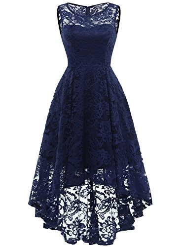 Misses Cocktail Dresses - MUADRESS 6006 Women's Vintage Floral Lace Sleeveless Hi-Lo Cocktail Formal Swing Dress Navy 3XL