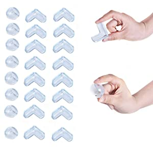 Corner Protector Baby, 24Pcs Baby Proofing Corner Guards, Corner Protector for Baby Safety, 16 L-Shaped+ 8 Ball-Shaped Baby Head Protector