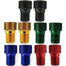 InnoLife 10 Pcs Aluminum PRESTA to SCHRADER Converter Car Valve Adapter Bicycle Bike Tube Pump Air Compressor Tools (mixed colors)